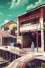 Porto de pesca, barcos, loja, menina do anime