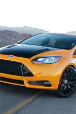 Preview iPhone wallpaper Ford Focus yellow car front view