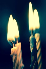 Four candles, fire, flame, black background