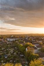 Preview iPhone wallpaper Frankfurt, city dusk, Germany, houses, buildings