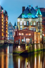 Preview iPhone wallpaper Germany, Hamburg, lights, bridge, houses, river, night