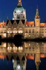 Germany Hannover New Town Hall, night, lights