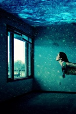 Preview iPhone wallpaper Girl swimming in house, windows, water, creative picture