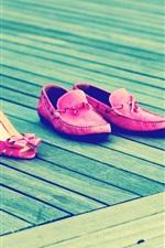 Preview iPhone wallpaper Girls footwear, pink style, wood board