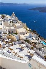 Preview iPhone wallpaper Greece, Santorini, sea, coast, houses, island