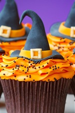 Preview iPhone wallpaper Halloween themed cakes, cream, hat