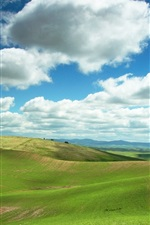 Preview iPhone wallpaper Hills, fields, grass, green, clouds, blue sky