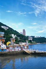 Hong Kong, city view, coast, village, sky, clouds