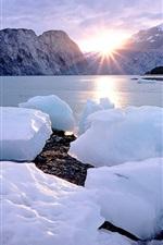 iPhone fondos de pantalla Cubos de hielo, nieve, costa, mar, puesta del sol, montañas