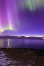 Iceland, Northern lights, sea, coast, night