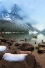 Preview iPhone wallpaper Lake Louise, stones, trees, fog, Banff National Park, Alberta, Canada