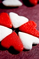 Preview iPhone wallpaper Love hearts candy, red and white
