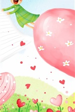 Preview iPhone wallpaper Love hearts flowers, art drawing