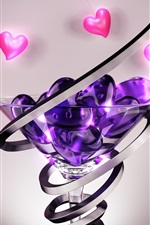 Preview iPhone wallpaper Love hearts, glass cup, abstract 3D