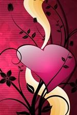 Amor plantas corações, vetor
