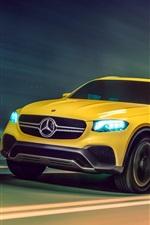 Preview iPhone wallpaper Mercedes-Benz GLC yellow car speed