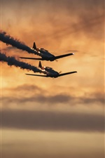Preview iPhone wallpaper Military aircraft, flight, smoke, sunset