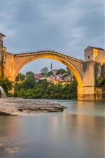 Preview iPhone wallpaper Mostar, Bosnia and Herzegovina, river, bridge, houses, lights, dusk