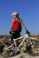 Preview iPhone wallpaper Mountain bike, cross country, blonde girl
