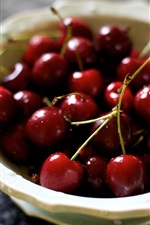 One bowl cherries, fruit close-up