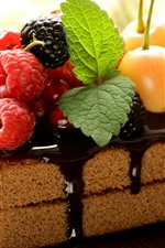 Preview iPhone wallpaper One piece chocolate cake, berries, fruit
