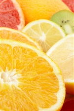 Oranges, lemons, grapefruits, kiwi, fruits slice
