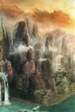 iPhone обои Живопись, природа, водопады, скалы, туман, облака, закат