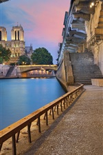 Preview iPhone wallpaper Paris, France, river, bridge, arch, buildings, lights, dusk