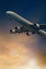 Preview iPhone wallpaper Passenger plane flight in sky, dusk, sun rays