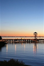 Preview iPhone wallpaper Pier, houses, sea, coast, dusk, sunset