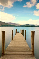 Pier, river, mountains, sky, clouds