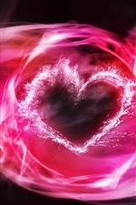 Preview iPhone wallpaper Pink smoke, love heart, abstract