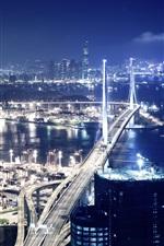 Preview iPhone wallpaper Port at night, Hong Kong, bridge, lights, skyscrapers