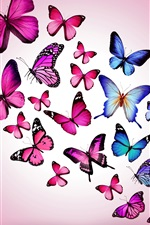 Preview iPhone wallpaper Purple and blue butterflies