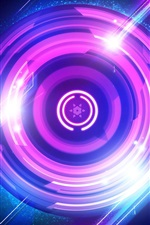 Preview iPhone wallpaper Purple circles, light, abstract