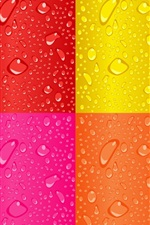 Preview iPhone wallpaper Rainbow background, water drops