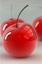 Preview iPhone wallpaper Red glass cherries, 3D design
