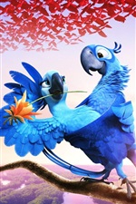 Preview iPhone wallpaper Rio 2 movie, blue feather parrots