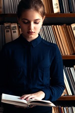 Russian girl, read book, library