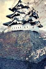 Preview iPhone wallpaper Sakura blossom, spring, temple, Japan