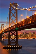 Preview iPhone wallpaper San Francisco, California, bridge, sea, illumination, night, USA