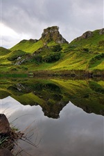 Preview iPhone wallpaper Scotland nature landscape, green, lake, grass, clouds