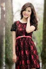 Preview iPhone wallpaper Smile Asian girl, skirt, trees