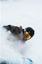 Preview iPhone wallpaper Snowboard, extreme sport, helmet, thick snow
