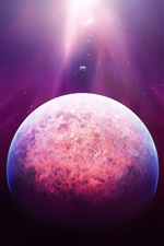 Preview iPhone wallpaper Space, planet, stars, purple light