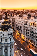 Preview iPhone wallpaper Spain, Madrid, buildings, road, city night, lights