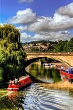 Summer, river, boats, ships, trees, city