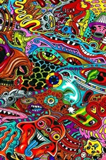 Preview iPhone wallpaper Surreal drawing, psychedelic, colorful colors