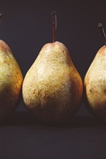 Preview iPhone wallpaper Three pears, black background