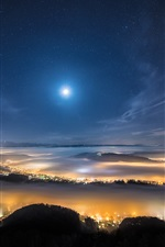 Preview iPhone wallpaper Top view the night city, lights, mountains, sky, moon